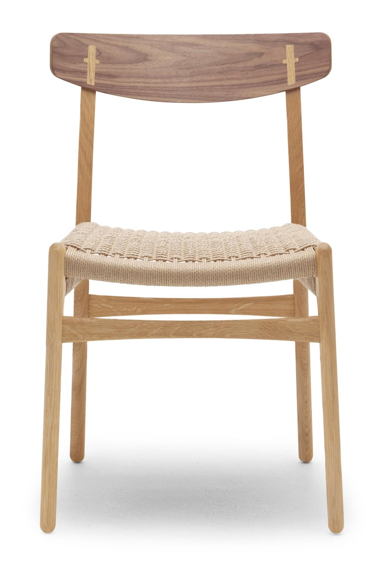 For Sale: Brown (Oak/Walnut) CH23 Dining Chair in Wood Finishes with Natural Papercord Seat by Hans J. Wegner