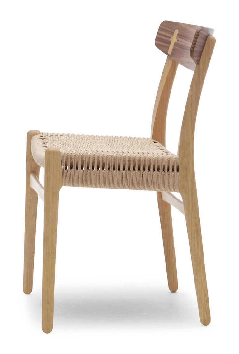 For Sale: Brown (Oak/Walnut) CH23 Dining Chair in Wood Finishes with Natural Papercord Seat by Hans J. Wegner 2