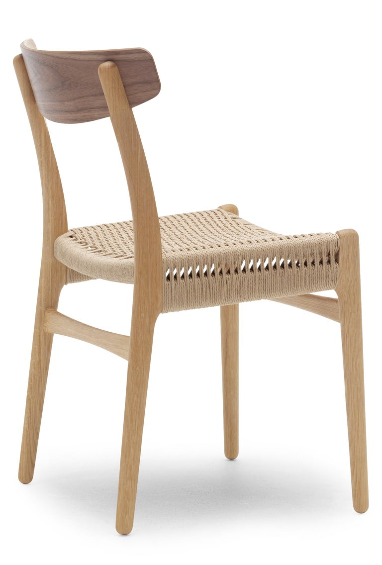 For Sale: Brown (Oak/Walnut) CH23 Dining Chair in Wood Finishes with Natural Papercord Seat by Hans J. Wegner 3