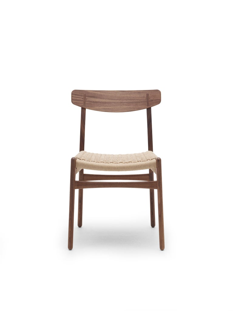 For Sale: Black (Oak Painted blacks9000-N) CH23 Dining Chair in Wood Finishes with Natural Papercord Seat by Hans J. Wegner 5