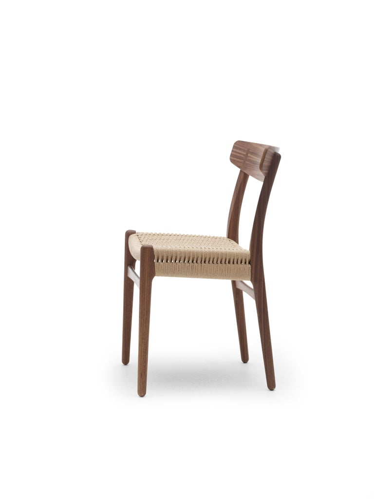 For Sale: Black (Oak Painted blacks9000-N) CH23 Dining Chair in Wood Finishes with Natural Papercord Seat by Hans J. Wegner 6