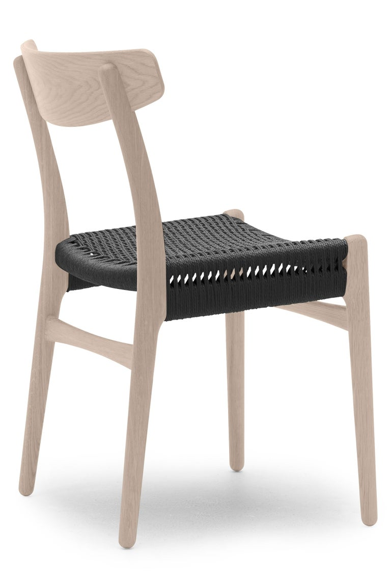 For Sale: Brown (Oak Soap) CH23 Dining Chair in Wood Finishes with Black Papercord Seat by Hans J. Wegner 2