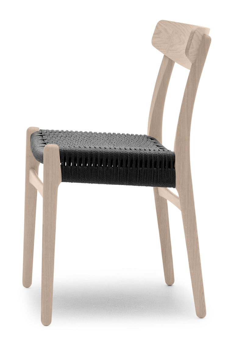 For Sale: Brown (Oak Soap) CH23 Dining Chair in Wood Finishes with Black Papercord Seat by Hans J. Wegner 3