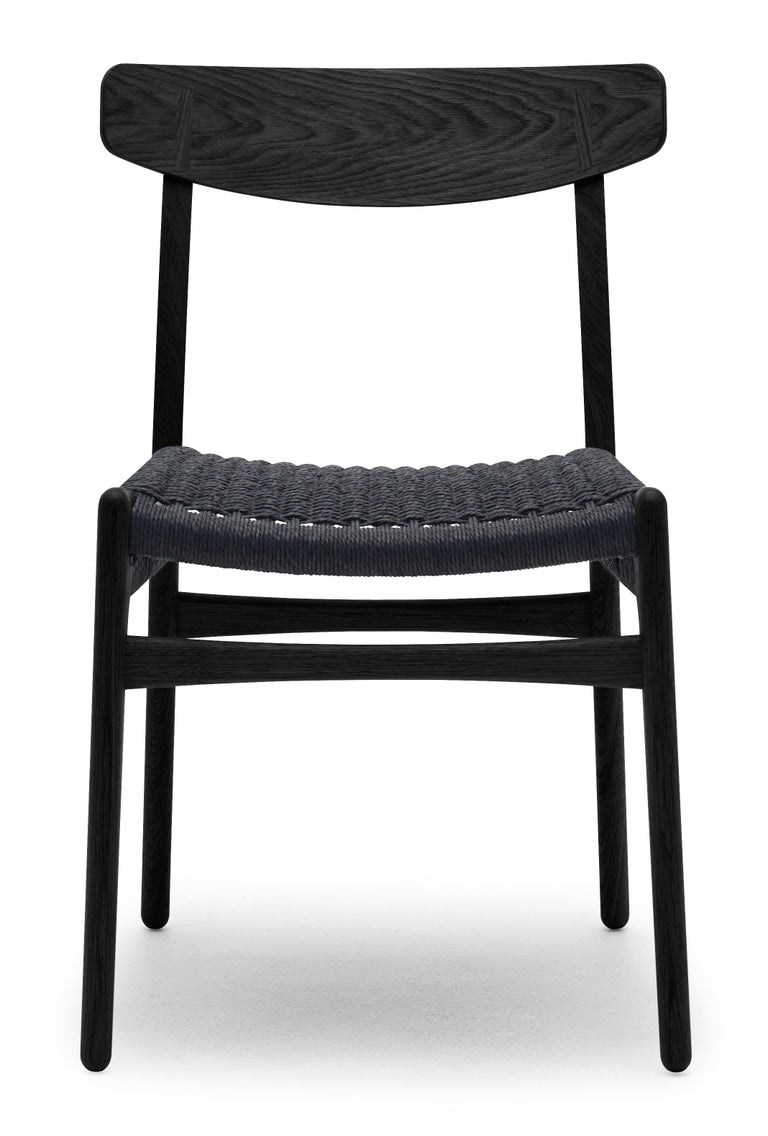 For Sale: Black (Oak Painted blacks9000-N) CH23 Dining Chair in Wood Finishes with Black Papercord Seat by Hans J. Wegner