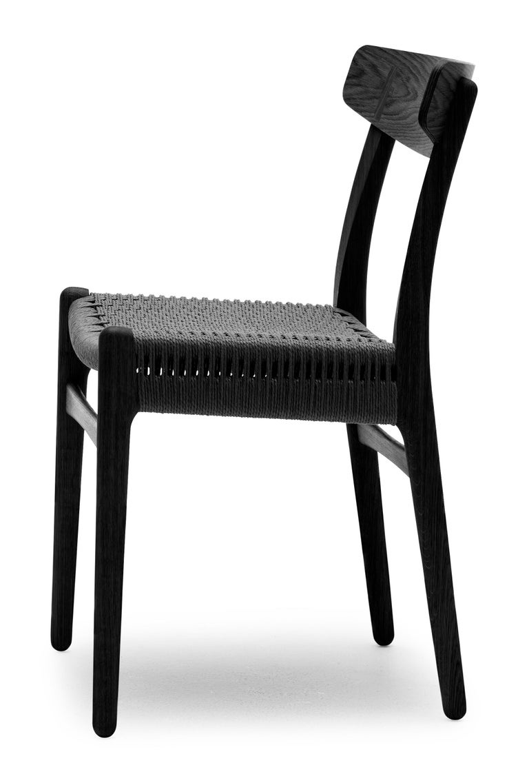 For Sale: Black (Oak Painted blacks9000-N) CH23 Dining Chair in Wood Finishes with Black Papercord Seat by Hans J. Wegner 2