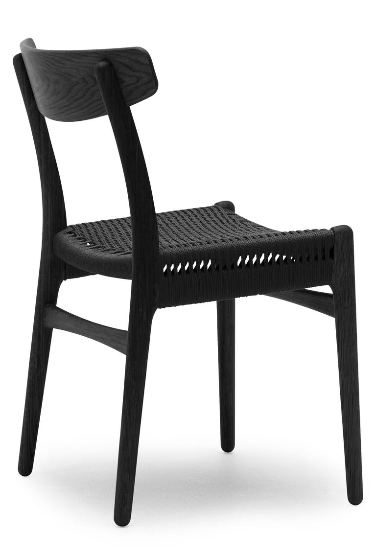 For Sale: Black (Oak Painted blacks9000-N) CH23 Dining Chair in Wood Finishes with Black Papercord Seat by Hans J. Wegner 3