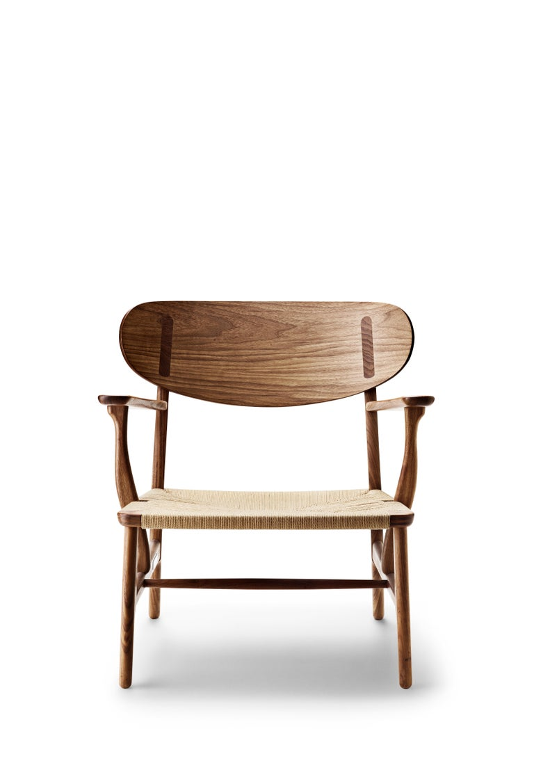 For Sale: Brown (Walnut Oil) CH22 Lounge Chair in Wood with Natural Papercord Seat by Hans J. Wegner 2