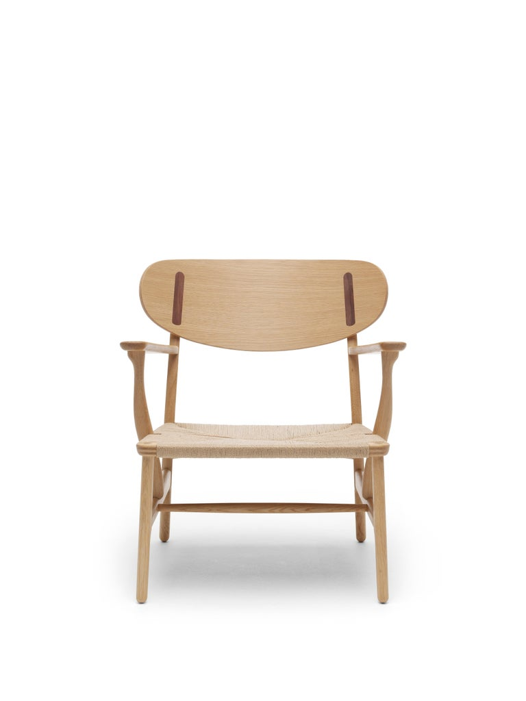 For Sale: Brown (Oak Oil) CH22 Lounge Chair in Wood with Natural Papercord Seat by Hans J. Wegner 2
