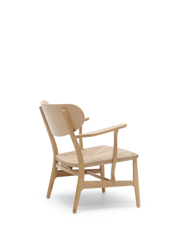 For Sale: Brown (Oak Oil) CH22 Lounge Chair in Wood with Natural Papercord Seat by Hans J. Wegner 3