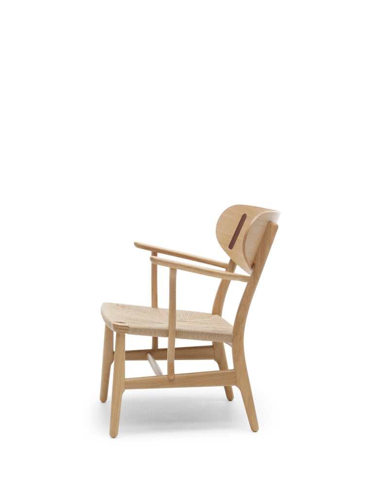 For Sale: Brown (Oak Oil) CH22 Lounge Chair in Wood with Natural Papercord Seat by Hans J. Wegner 4