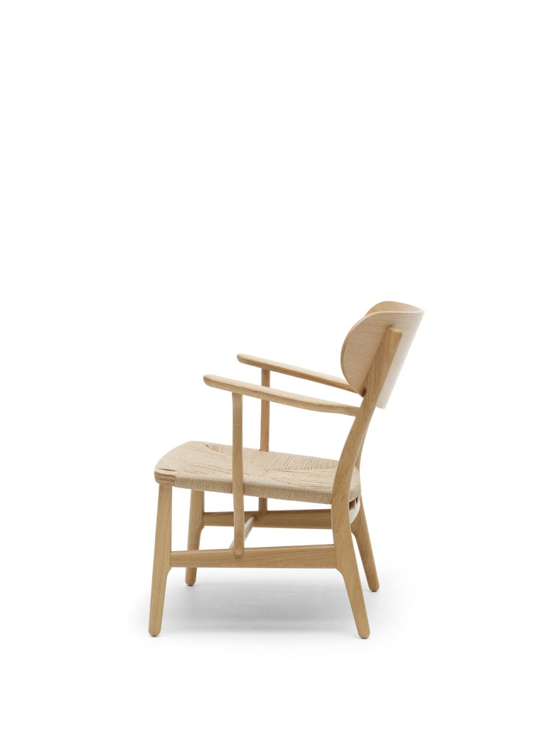 For Sale: Brown (Oak Oil) CH22 Lounge Chair in Wood with Natural Papercord Seat by Hans J. Wegner 5