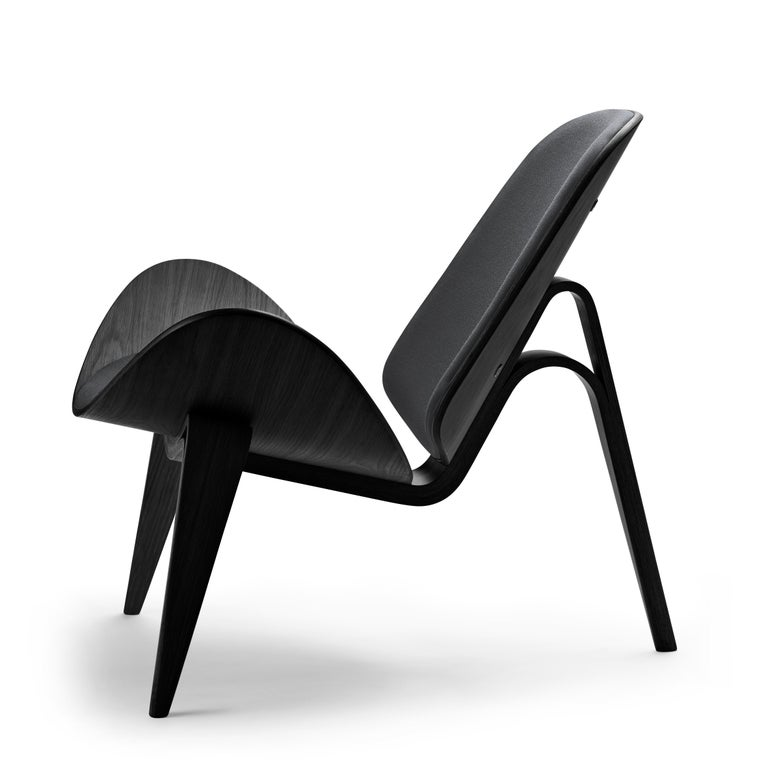 For Sale: Gray (Kvadrat Fiord 171) CH07 Shell Chair in Oak Painted Black with Foam Seat by Hans J. Wegner 2