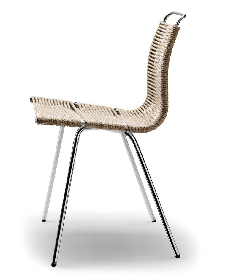 For Sale: Black (Outdoor Flag Halyard Light Brown-Black) PK1 Dining Chair in Chrome Base by Poul Kjærholm 2
