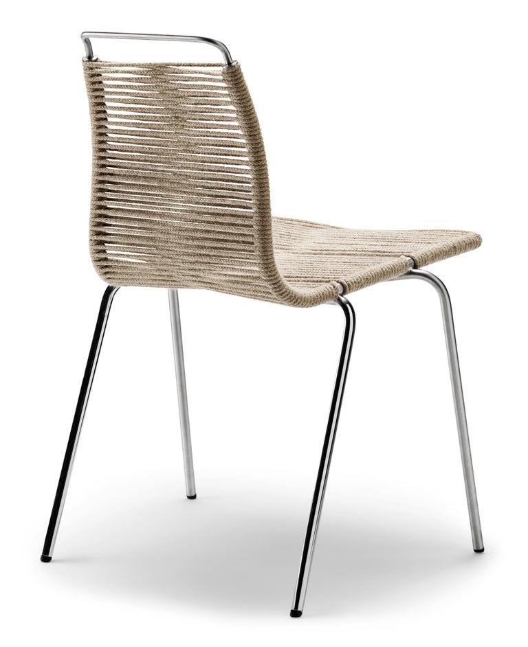 For Sale: Black (Outdoor Flag Halyard Light Brown-Black) PK1 Dining Chair in Chrome Base by Poul Kjærholm 3