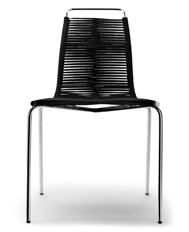 For Sale: Beige (Woven Flag Halyard Natural-Black) PK1 Dining Chair in Chrome Base by Poul Kjærholm