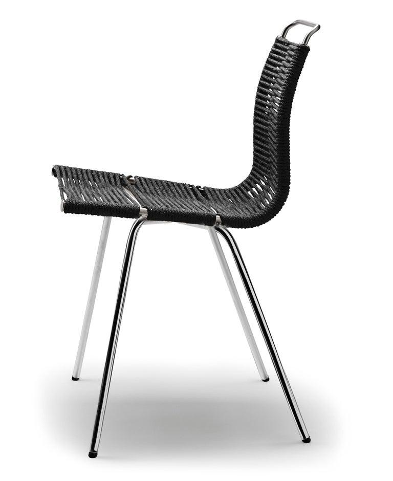 For Sale: Beige (Woven Flag Halyard Natural-Black) PK1 Dining Chair in Chrome Base by Poul Kjærholm 2