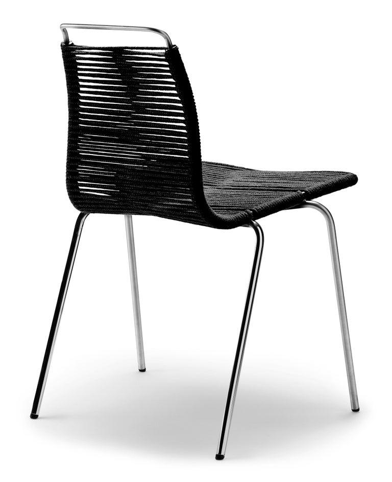For Sale: Beige (Woven Flag Halyard Natural-Black) PK1 Dining Chair in Chrome Base by Poul Kjærholm 3