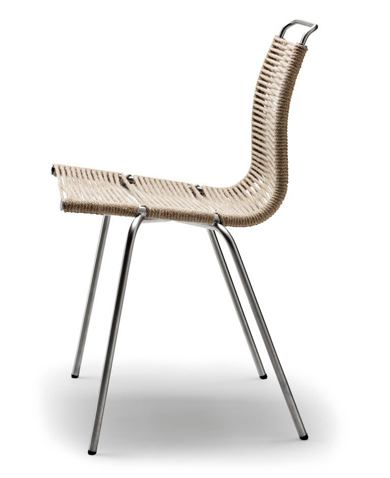 For Sale: Black (Outdoor Flag Halyard Light Brown-Black) PK1 Dining Chair in Stainless Steel Base by Poul Kjærholm 2