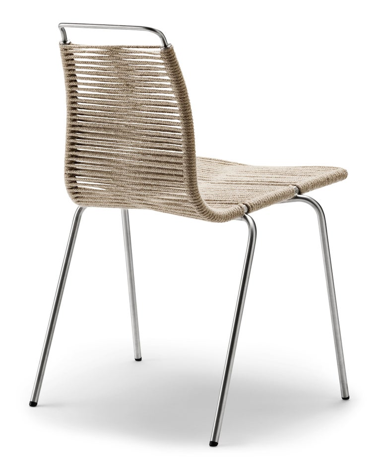 For Sale: Black (Outdoor Flag Halyard Light Brown-Black) PK1 Dining Chair in Stainless Steel Base by Poul Kjærholm 3