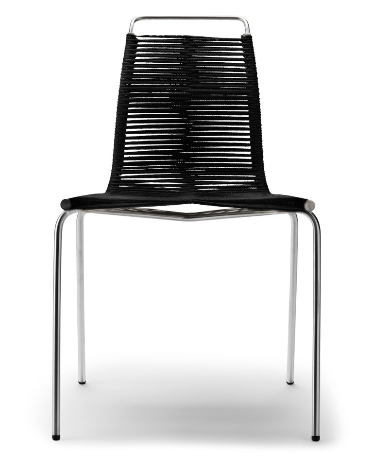For Sale: Beige (Woven Flag Halyard Natural-Black) PK1 Dining Chair in Stainless Steel Base by Poul Kjærholm