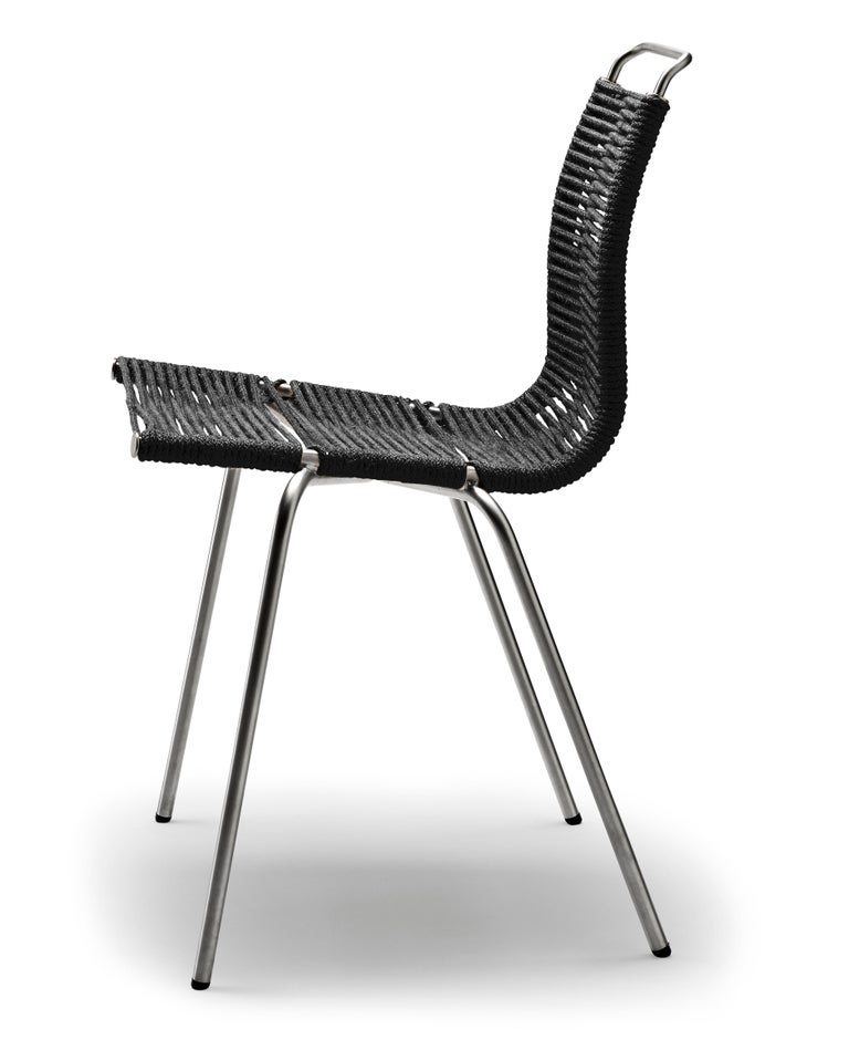 For Sale: Beige (Woven Flag Halyard Natural-Black) PK1 Dining Chair in Stainless Steel Base by Poul Kjærholm 2