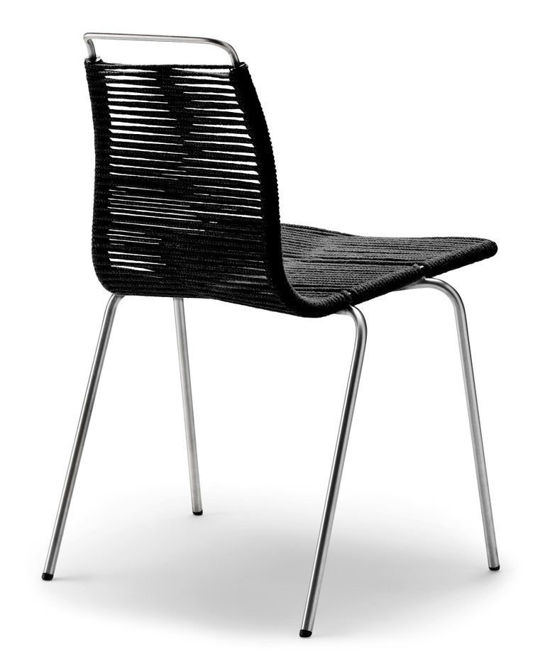 For Sale: Beige (Woven Flag Halyard Natural-Black) PK1 Dining Chair in Stainless Steel Base by Poul Kjærholm 3