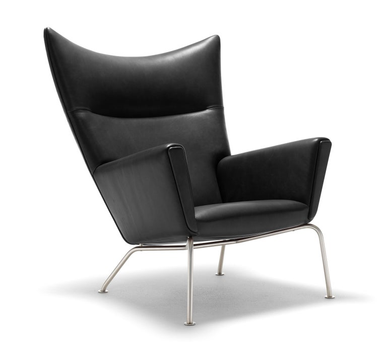 For Sale: Black (Thor 301) CH445 Wing Chair in Leather with Stainless Steel Base by Hans J. Wegner 2