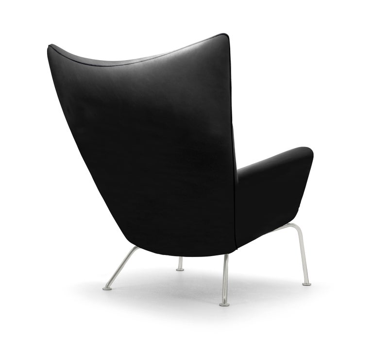 For Sale: Black (Thor 301) CH445 Wing Chair in Leather with Stainless Steel Base by Hans J. Wegner 3