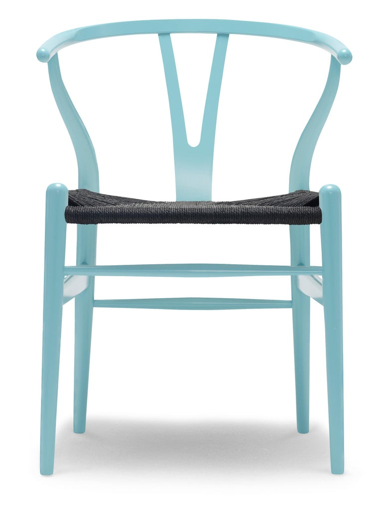 For Sale: Blue (NCS 2030-B30G) CH24 Wishbone Chair in Color Finishes with Black Papercord Seat by Hans Wegner