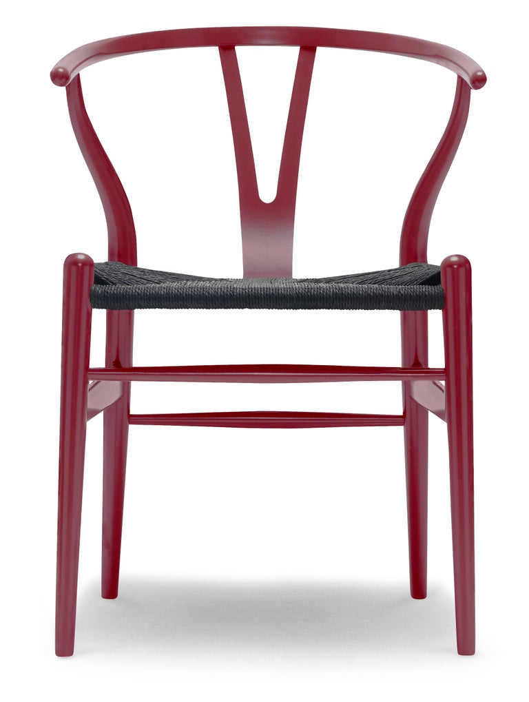 For Sale: Red (NCS S4050-R10B) CH24 Wishbone Chair in Color Finishes with Black Papercord Seat by Hans Wegner