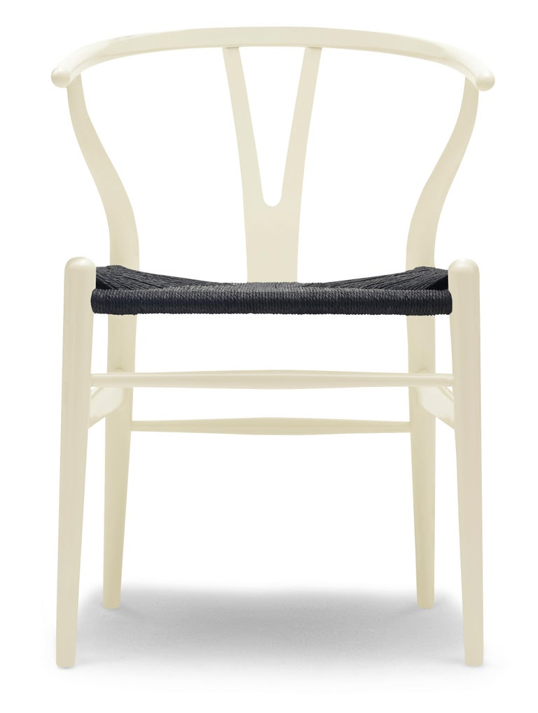 For Sale: Beige (NCS 0010-Y20R) CH24 Wishbone Chair in Color Finishes with Black Papercord Seat by Hans Wegner