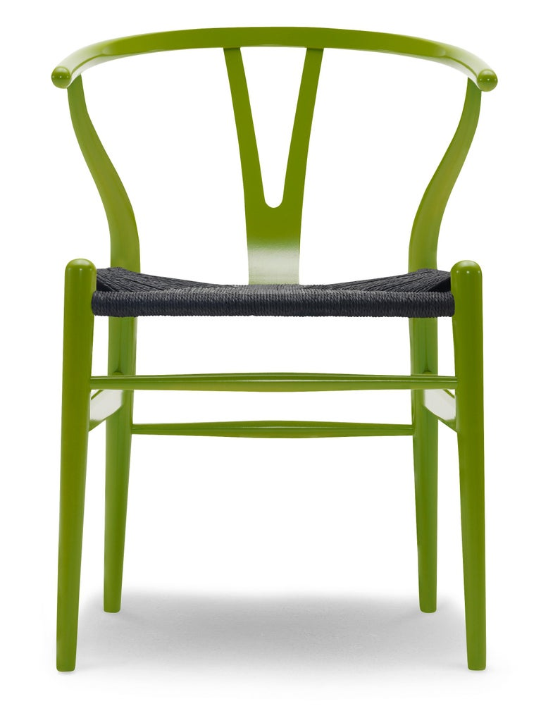 For Sale: Green (NCS 3065-G60Y) CH24 Wishbone Chair in Color Finishes with Black Papercord Seat by Hans Wegner