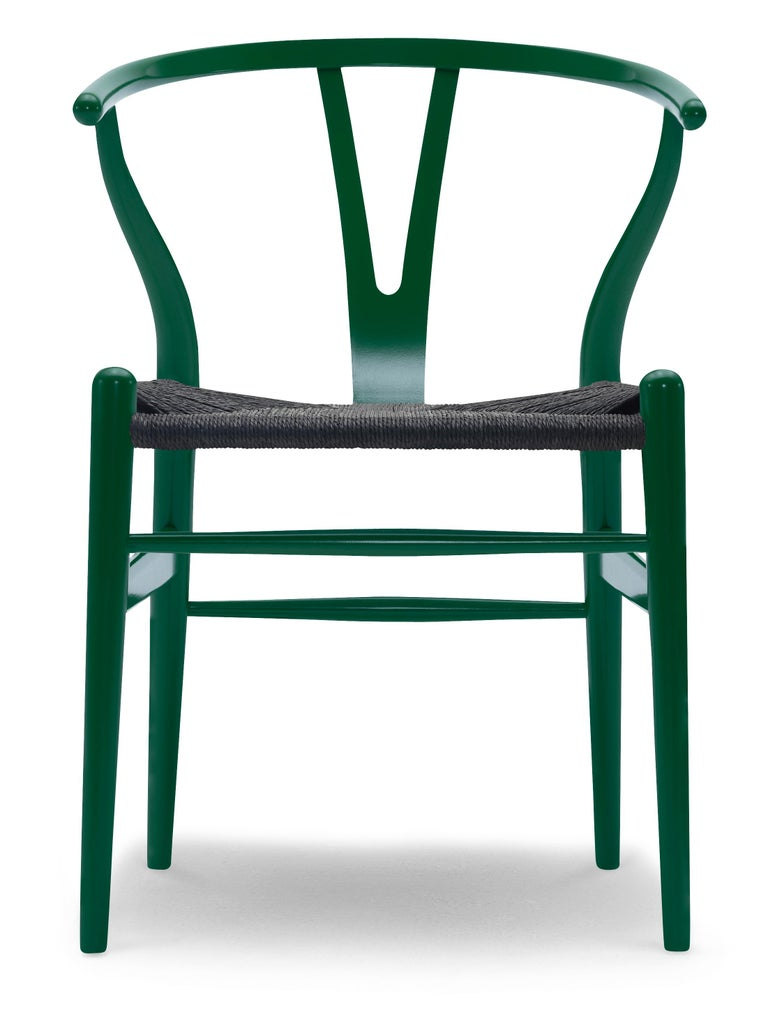 For Sale: Green (NCS S6030-B90G) CH24 Wishbone Chair in Color Finishes with Black Papercord Seat by Hans Wegner