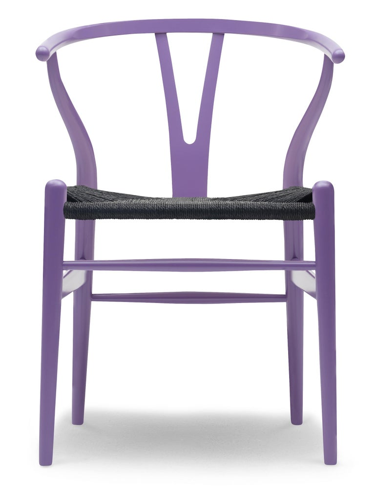 For Sale: Purple (NCS 4030-R60B) CH24 Wishbone Chair in Color Finishes with Black Papercord Seat by Hans Wegner