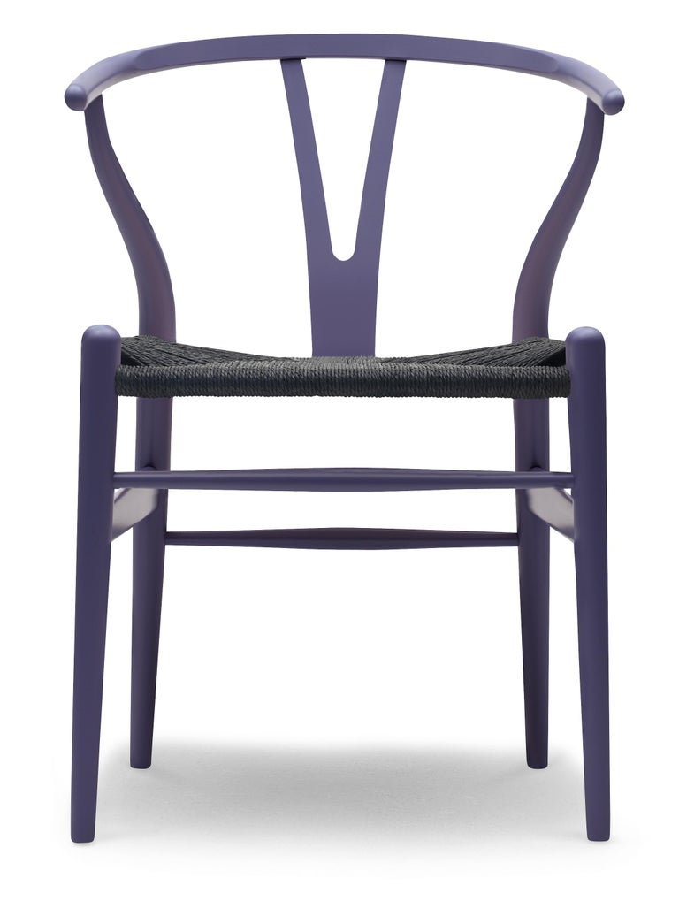 For Sale: Blue (NCS S6020-R80B) CH24 Wishbone Chair in Color Finishes with Black Papercord Seat by Hans Wegner