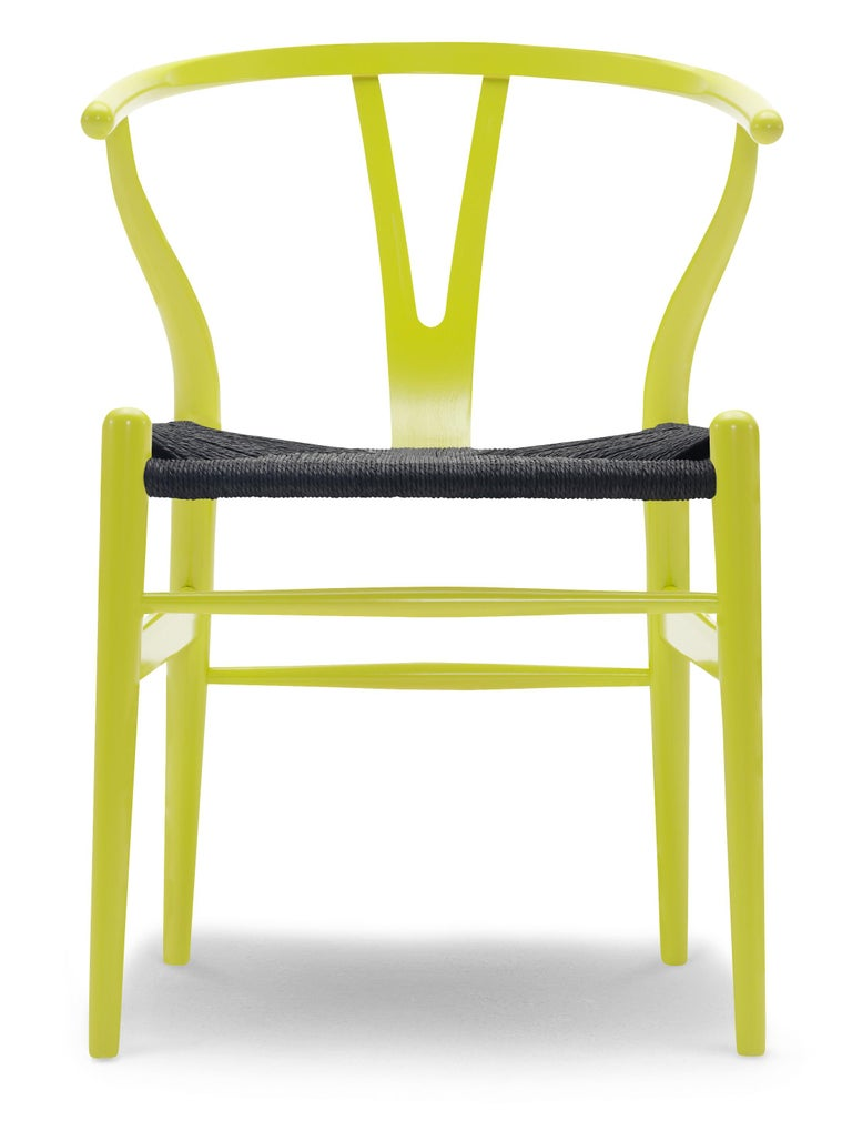 For Sale: Green (NCS 0570-G70Y) CH24 Wishbone Chair in Color Finishes with Black Papercord Seat by Hans Wegner
