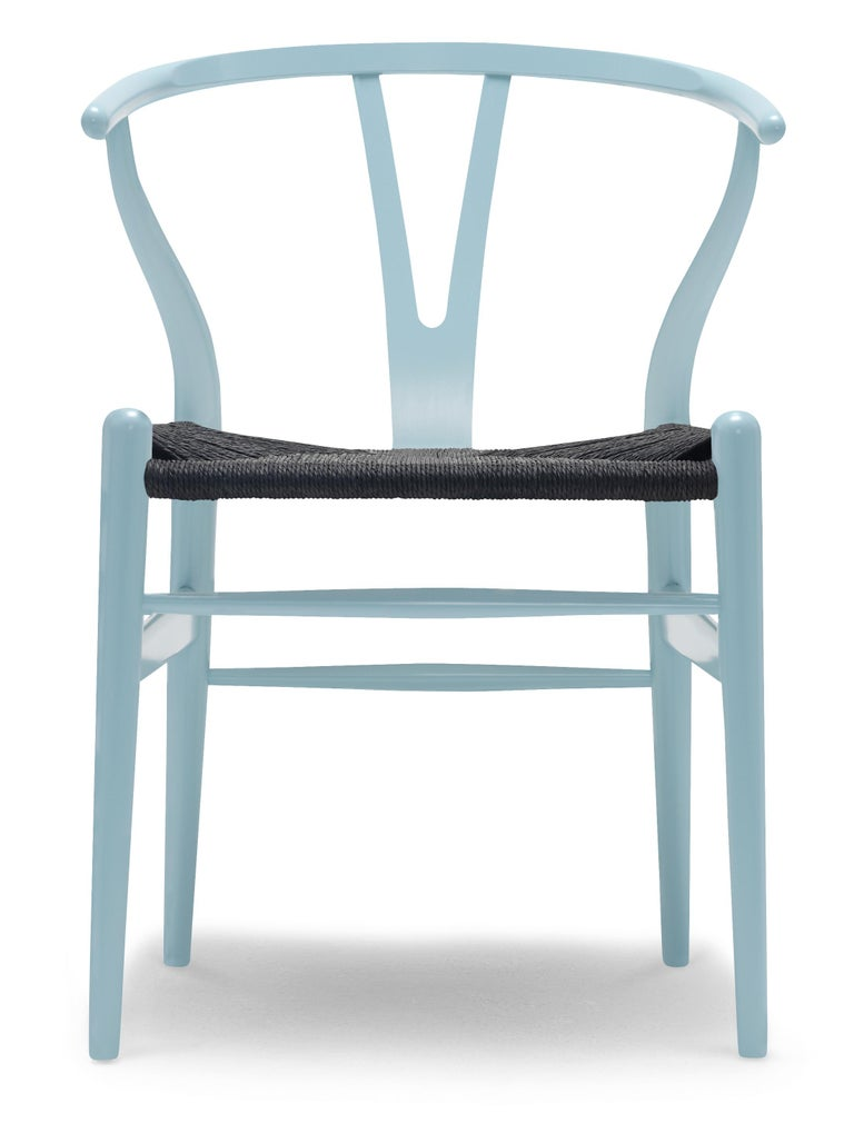 For Sale: Blue (NCS 2020-B10G) CH24 Wishbone Chair in Color Finishes with Black Papercord Seat by Hans Wegner