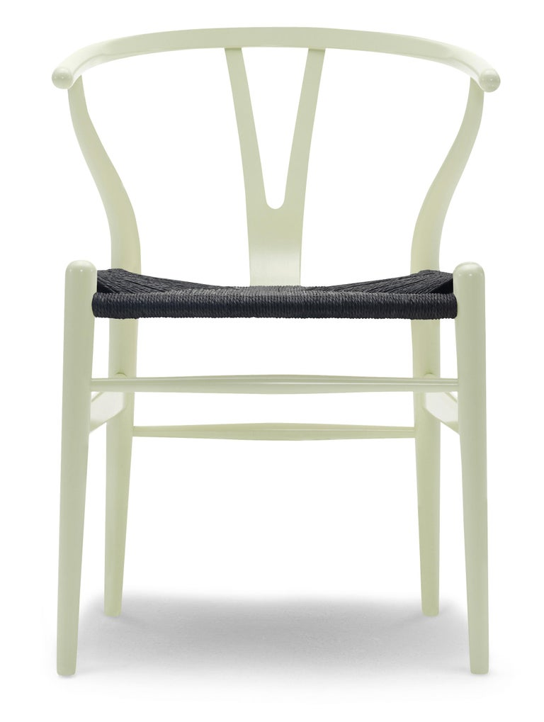 For Sale: Green (NCS 1020-G60Y) CH24 Wishbone Chair in Color Finishes with Black Papercord Seat by Hans Wegner