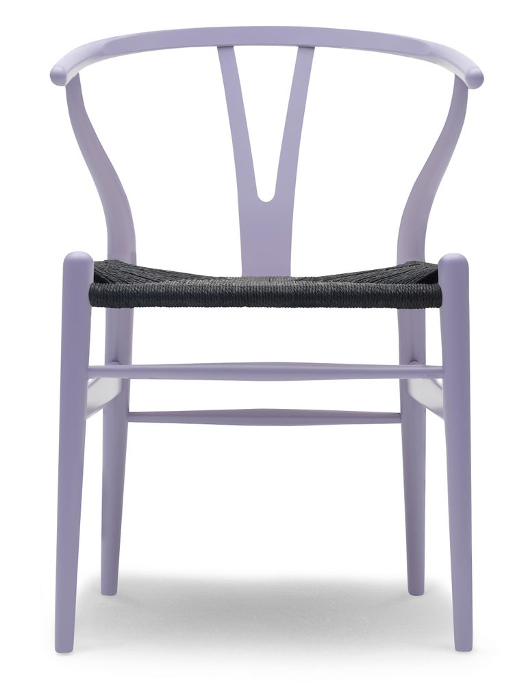 For Sale: Purple (NCS 3020-R60B) CH24 Wishbone Chair in Color Finishes with Black Papercord Seat by Hans Wegner