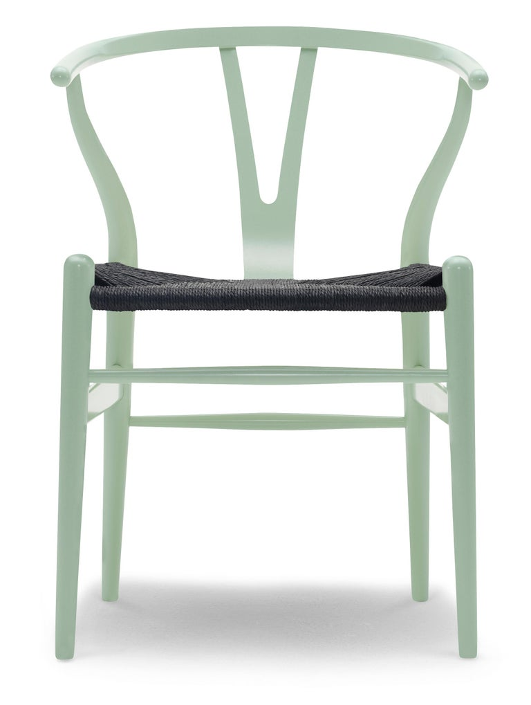 For Sale: Green (NCS 2020-G10Y) CH24 Wishbone Chair in Color Finishes with Black Papercord Seat by Hans Wegner