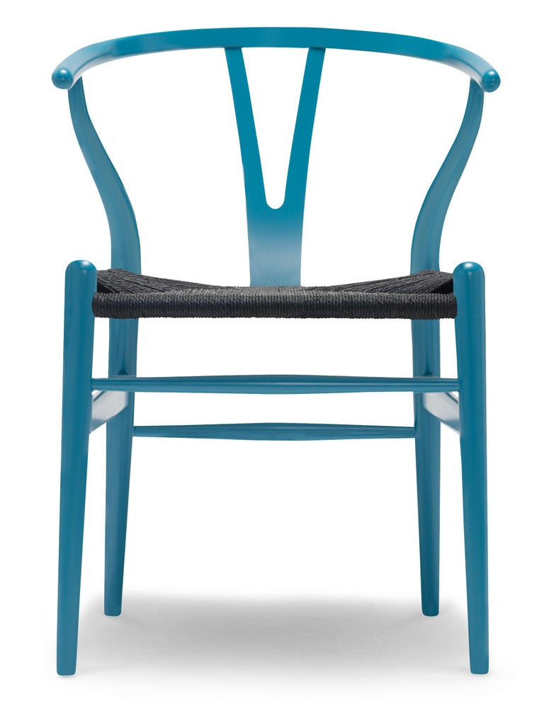 For Sale: Blue (NCS 4040-B10G) CH24 Wishbone Chair in Color Finishes with Black Papercord Seat by Hans Wegner