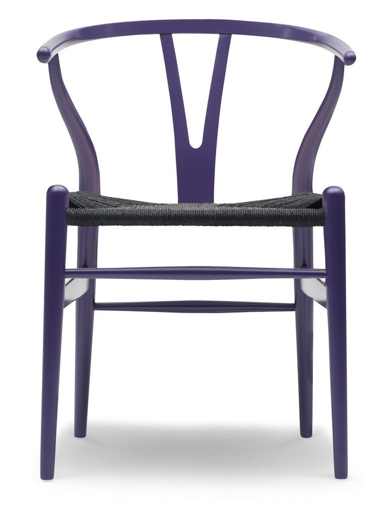 For Sale: Purple (NCS 6020-R60B) CH24 Wishbone Chair in Color Finishes with Black Papercord Seat by Hans Wegner