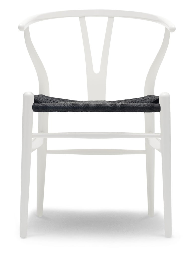 For Sale: Beige (NCS S0502-Y) CH24 Wishbone Chair in Color Finishes with Black Papercord Seat by Hans Wegner