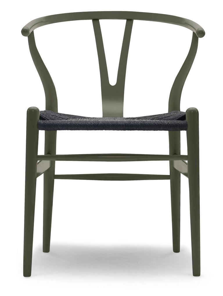 For Sale: Green (NCS S6020-G50Y) CH24 Wishbone Chair in Color Finishes with Black Papercord Seat by Hans Wegner