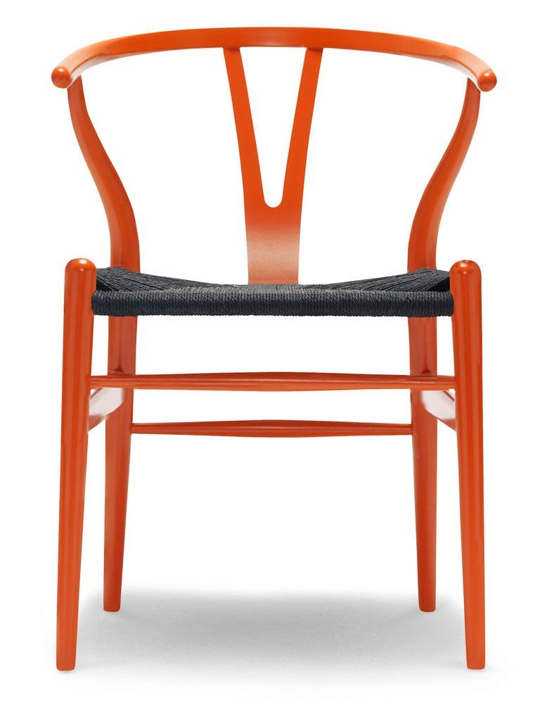 For Sale: Orange (NCS S2075-Y70R) CH24 Wishbone Chair in Color Finishes with Black Papercord Seat by Hans Wegner