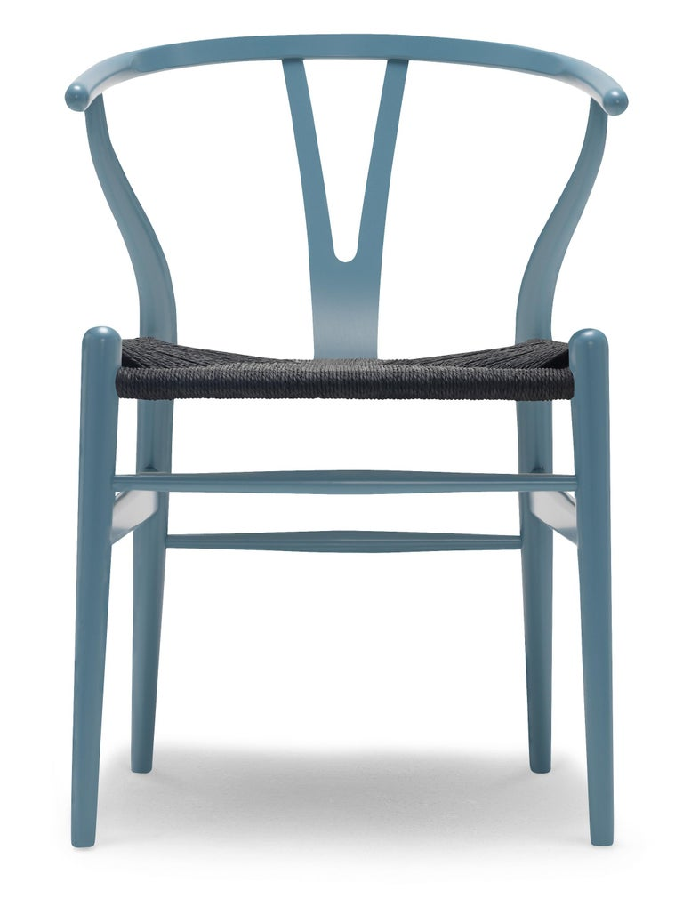 For Sale: Blue (NCS 5020-B10G) CH24 Wishbone Chair in Color Finishes with Black Papercord Seat by Hans Wegner