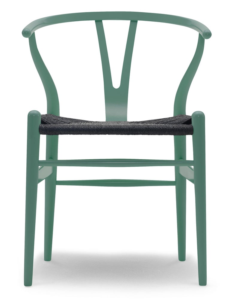 For Sale: Green (NCS S6020-B50G) CH24 Wishbone Chair in Color Finishes with Black Papercord Seat by Hans Wegner