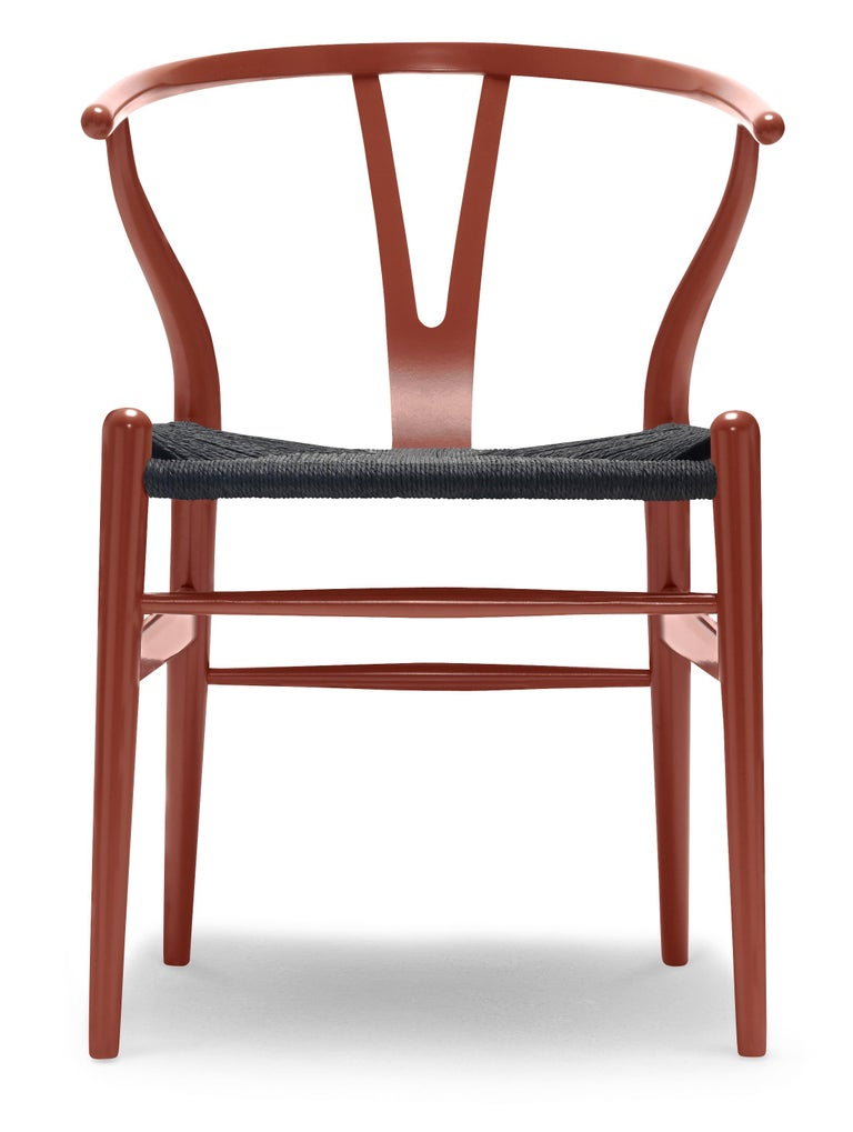 For Sale: Red (NCS S4550-Y80R) CH24 Wishbone Chair in Color Finishes with Black Papercord Seat by Hans Wegner