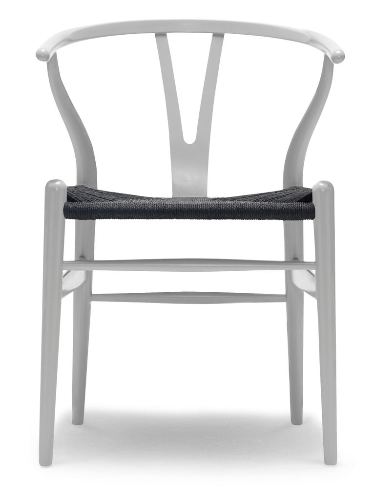 For Sale: Gray (NCS S3502-Y) CH24 Wishbone Chair in Color Finishes with Black Papercord Seat by Hans Wegner