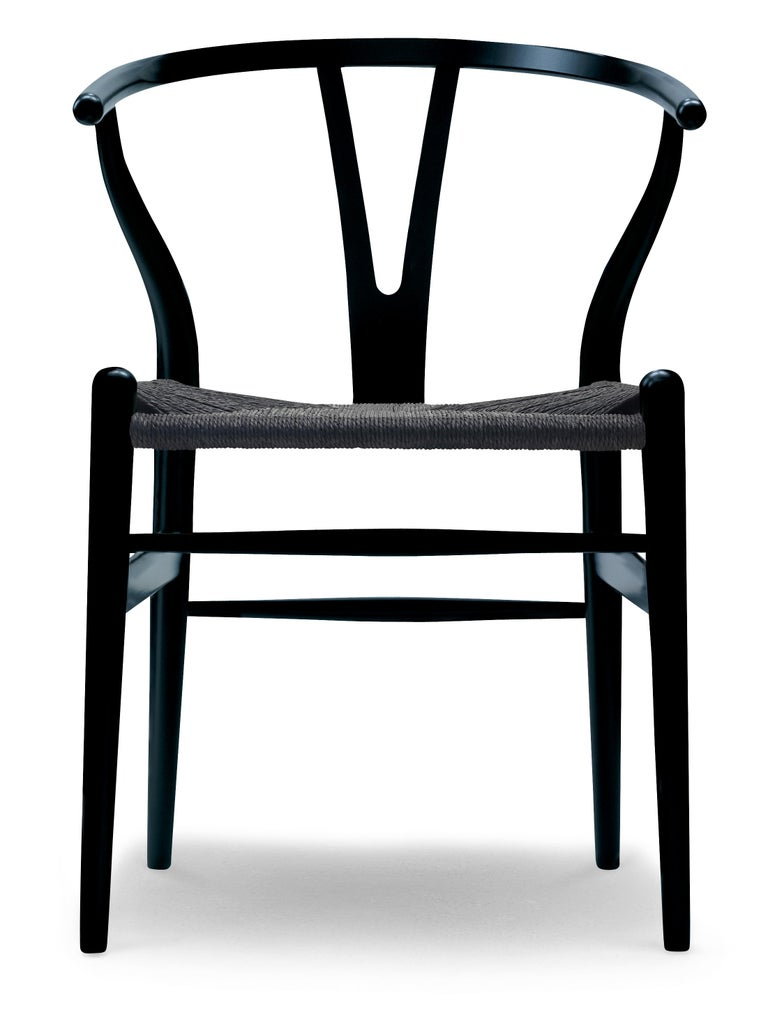 For Sale: Black (NCS S9000-N) CH24 Wishbone Chair in Color Finishes with Black Papercord Seat by Hans Wegner
